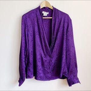 deep purple embossed slinky double breasted blouse
